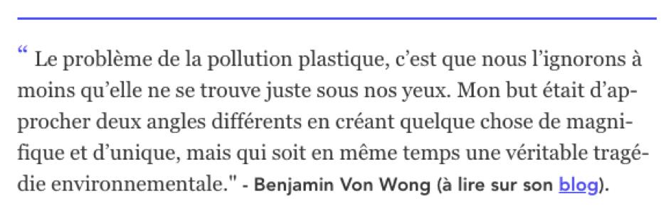 Benjamin Von Wong explique le problème de la pollution plastique