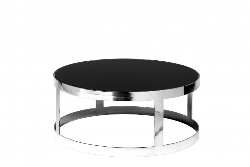Location tables berlin chrome ronde - Table basse ronde noire ...