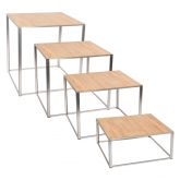 Tables Kadra - 100 x 100 cm - bois & chrome