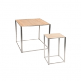 Tables Kadra - H90 & H105 cm - bois & chrome