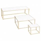 Tables Kadra H45 - marbre & laiton