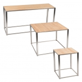 Tables Kadra H73 - bois & chrome